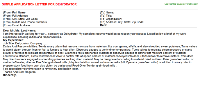 Dehydrator Application Letter Template