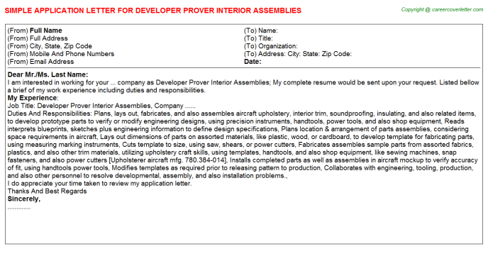 Developer prover interior assemblies job application letter (#15329)
