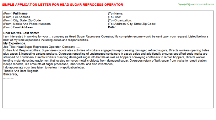 head sugar reprocess operator application letter template