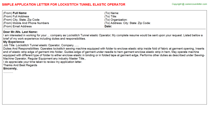 Lockstitch Tunnel elastic Operator Application Letter Template