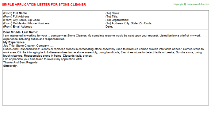 Stone Cleaner Application Letter Template