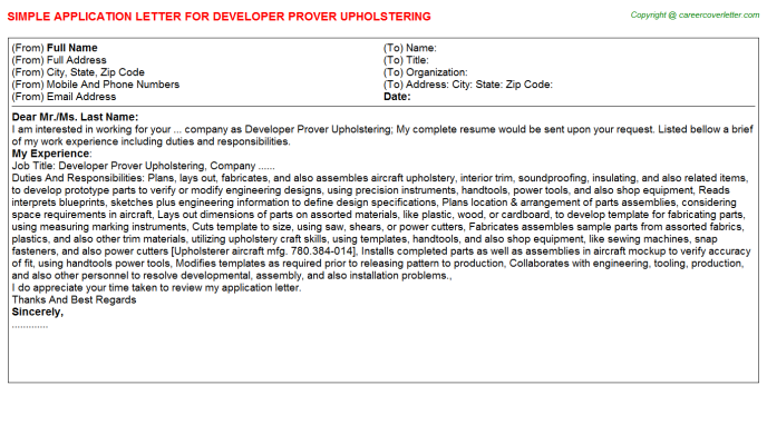 Developer prover upholstering job application letter (#15330)