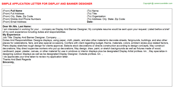 Display And Banner Designer Application Letter Template