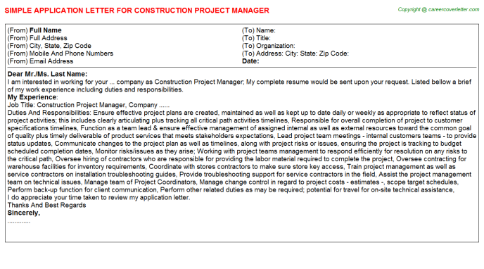Construction Project Manager Application Letter Template