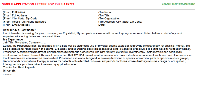 Physiatrist Application Letter Template
