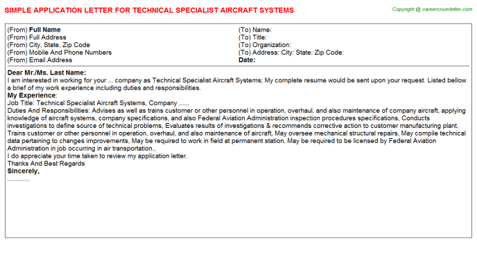 Technical Specialist Aircraft Systems Application Letter Template