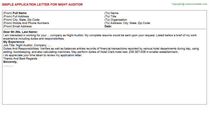 Night Auditor Application Letter Template