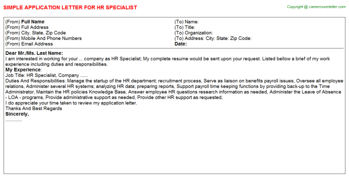 HR Specialist Application Letter Template