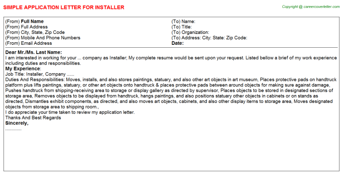 Installer Job Application Letter Template