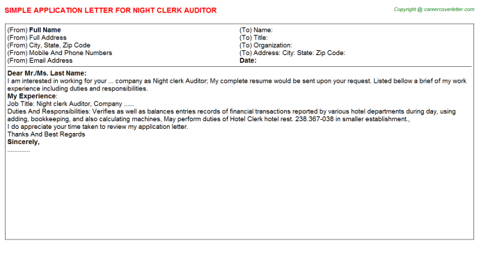 night clerk auditor application letter template