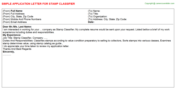 Stamp Classifier Application Letter Template
