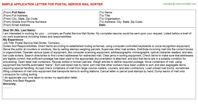 Postal Service Mail Sorter Job Application Letter Template