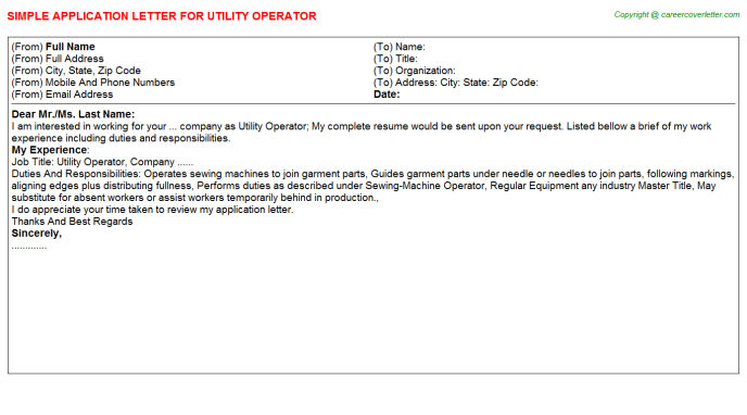 Utility Operator Application Letter Template