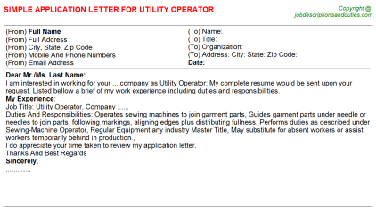 Utility Operator Job Application Letter Template