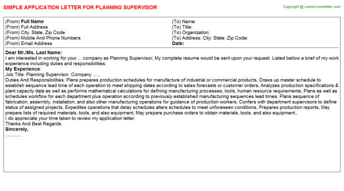 Planning Supervisor Job Application Letter Template
