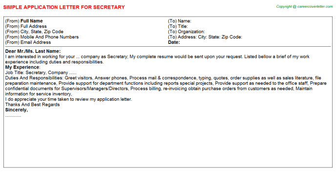 Secretary Application Letter Template