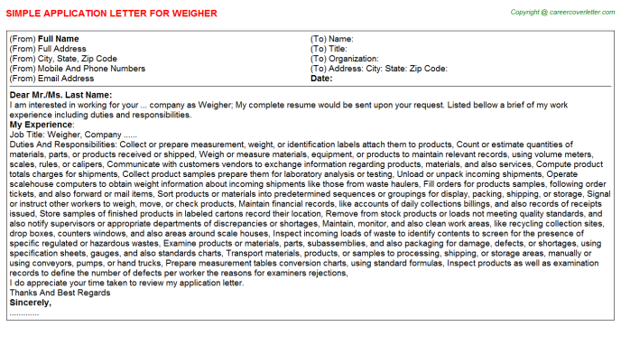 Weigher Job Application Letter Template