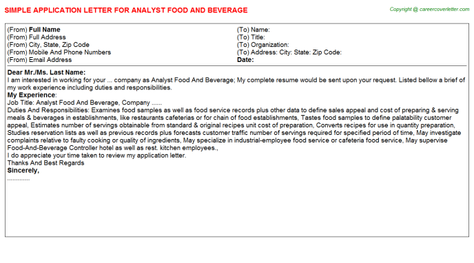 analyst food and beverage application letter template