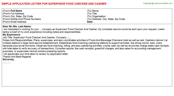 supervisor food checker and cashier application letter template