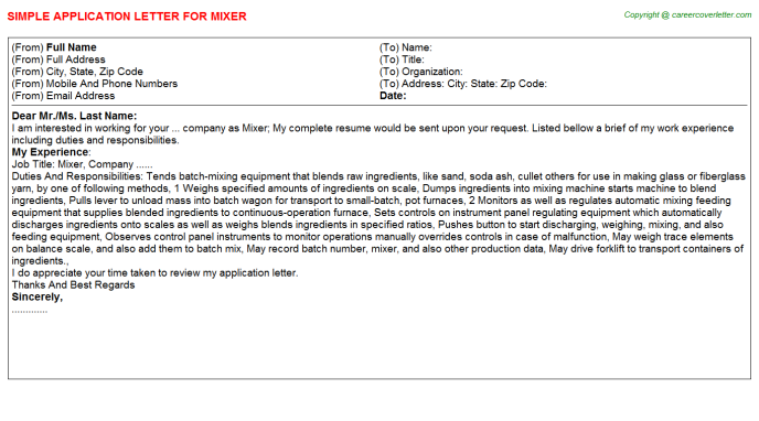 mixer application letter template