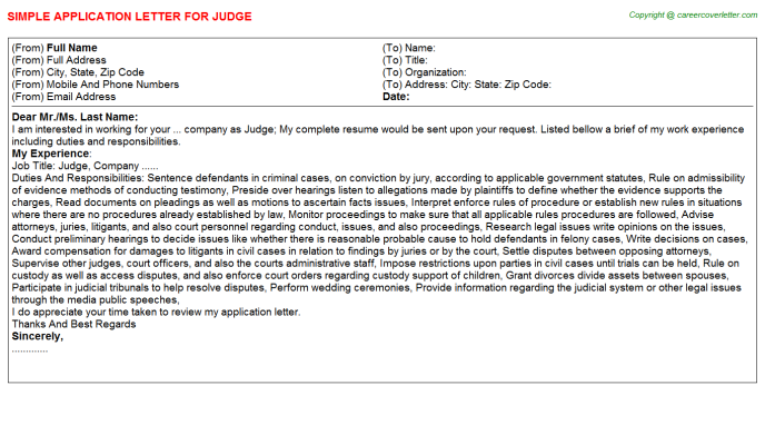 Judge Job Application Letter Template