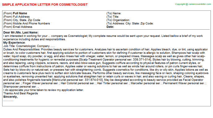 Cosmetologist Application Letter Template