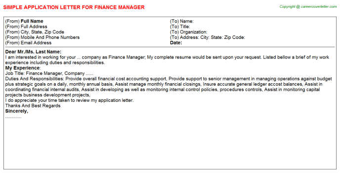 Finance Manager Application Letter Template