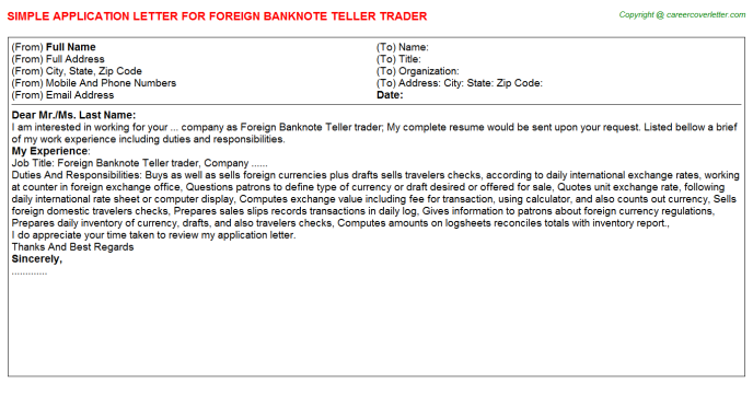 foreign banknote teller trader application letter template