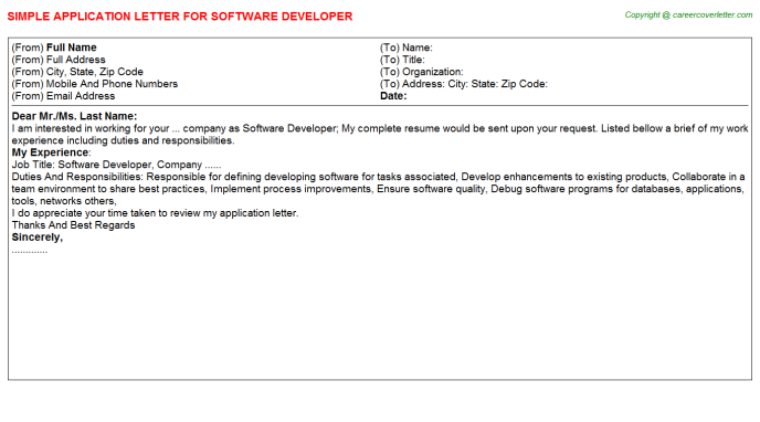Software developer job application letter (#25841)