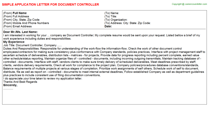 Document Controller Application Letter Template