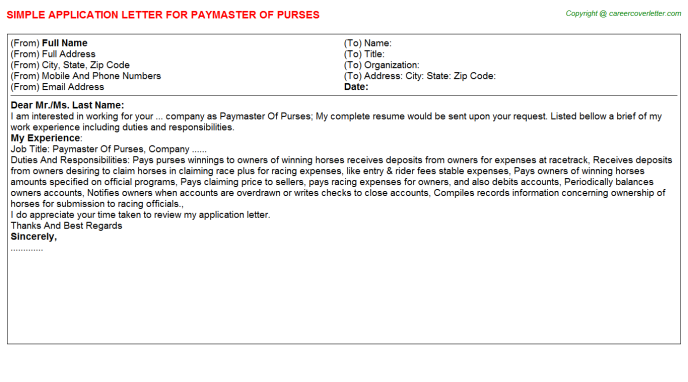 Paymaster Of Purses Job Application Letter Template