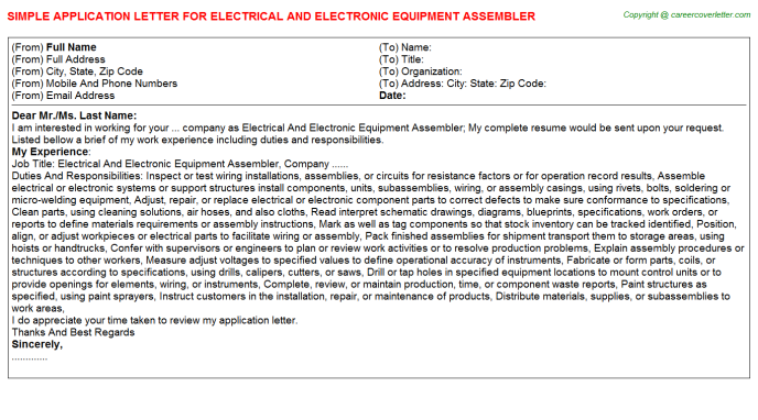 Electrical And Electronic Equipment Assembler Application ...