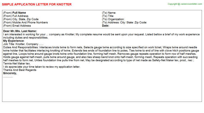 Knotter Application Letter Template