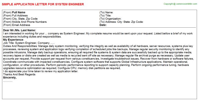 System Engineer Application Letter Template