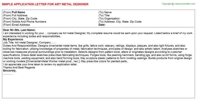 Art Metal Designer Application Letter Template