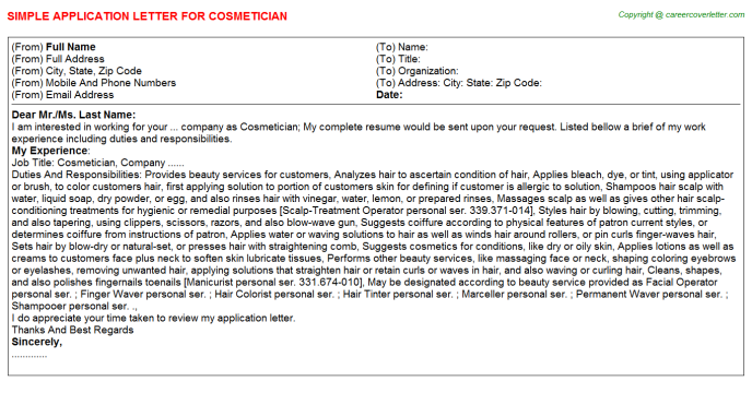 Cosmetician Application Letter Template