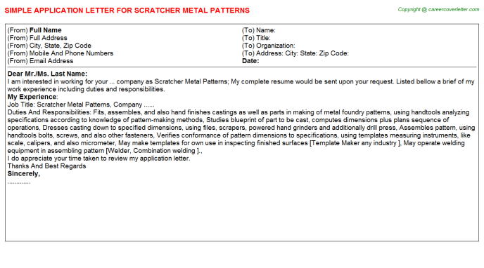 scratcher metal patterns application letter template