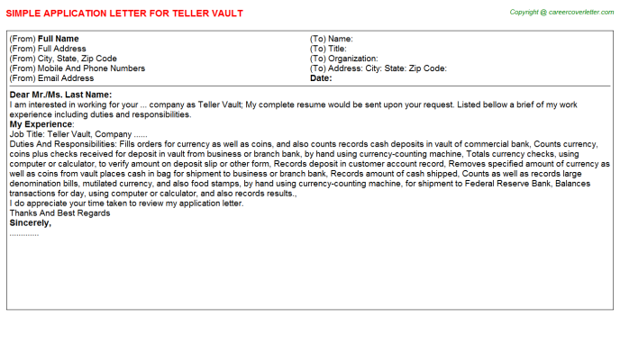 Teller Vault Job Application Letters
