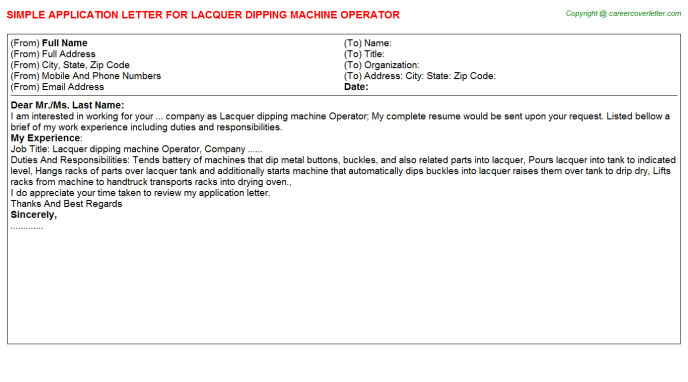 lacquer dipping machine operator application letter template