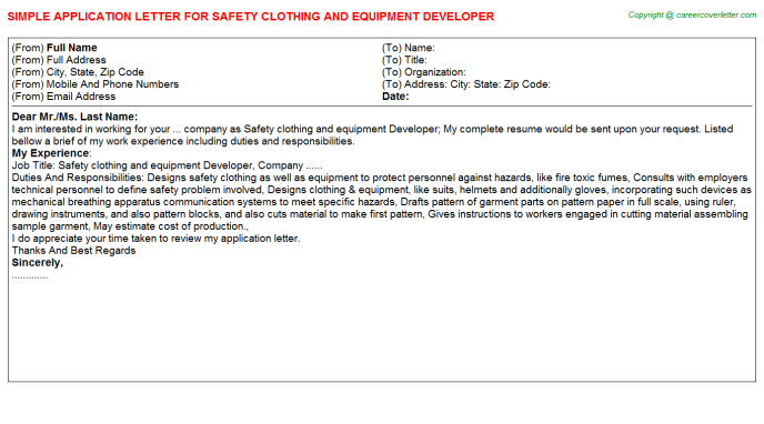 Safety clothing and equipment developer job application letter (#1345)