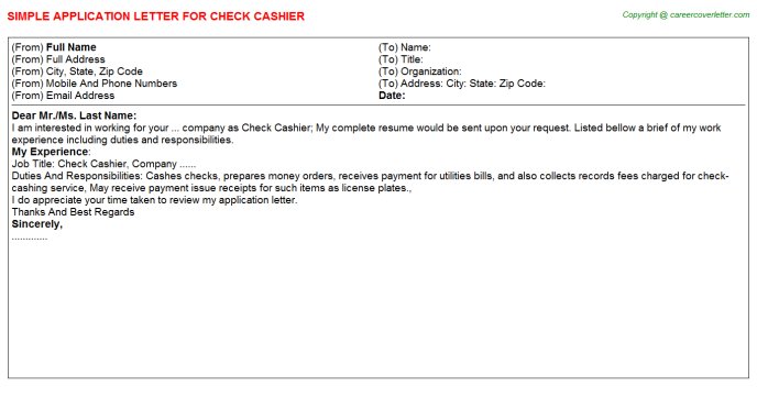 check cashier application letter template