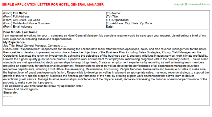 Hotel General Manager Application Letter Template