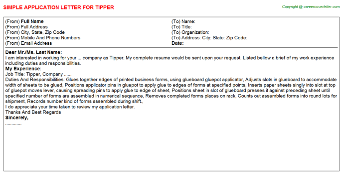 Tipper Application Letter Template