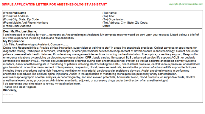 Anesthesiologist Assistant Job Application Letter | Application Letters