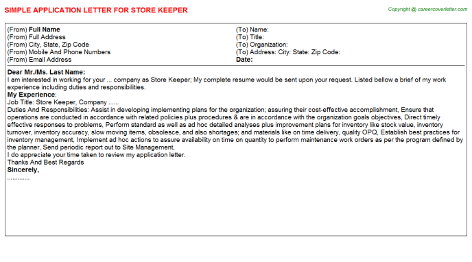 Store Keeper Application Letter Template