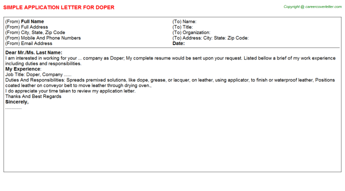 Doper Job Application Letter Template