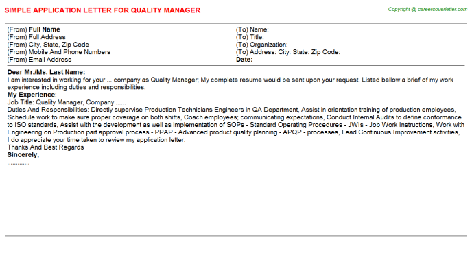 Quality Manager Application Letter Template