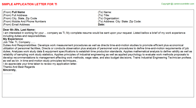 Ti Application Letter Template