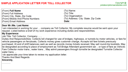 Toll Collector Application Letters