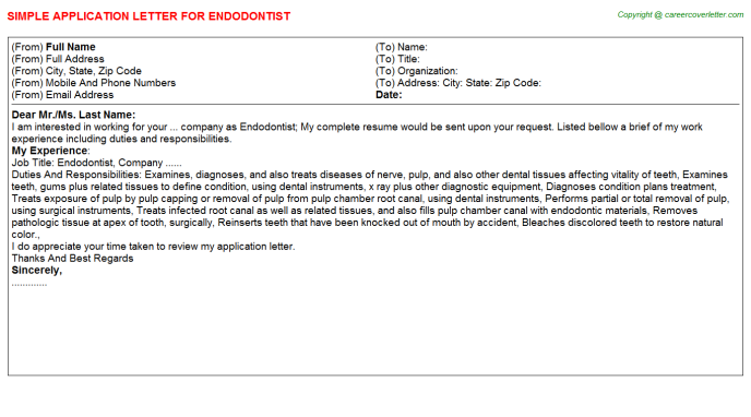 Endodontist Application Letter Template
